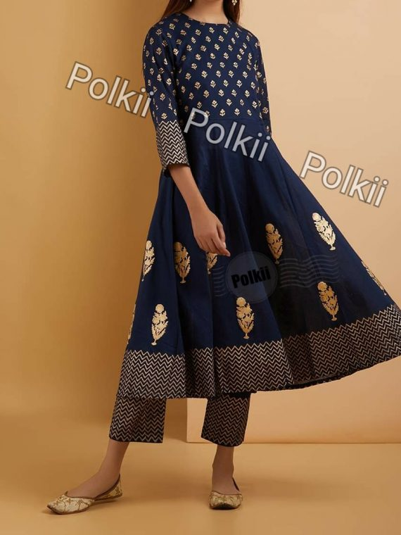 Soft Khaddar Frock (Navy Blue)